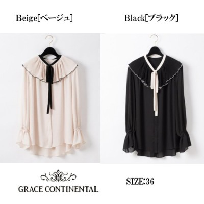 Grace Continental/グレースコンチネンタルのプリーツバイカラーブラウス