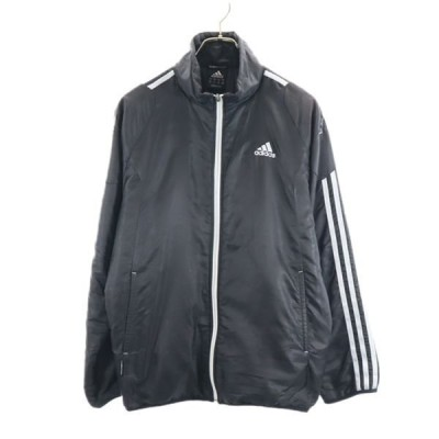 アディダス ウインドブレーカー M 黒 adidas スポーツ 中綿 ジャケット メンズ 古着 201010