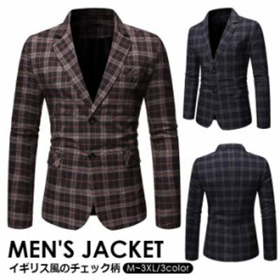 メンズスーツ テーラードジャケット チェック柄ジャケット  メンズ トップス コート フォーマル スーツジャケット 紳士 アウター コート