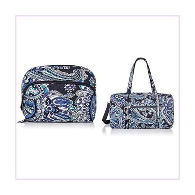 Vera Bradley Signature Cotton Lay Travel Duffle & Lay Flat Cosmetic Bag Combo, Deep Night Paisley■並行輸入品■
