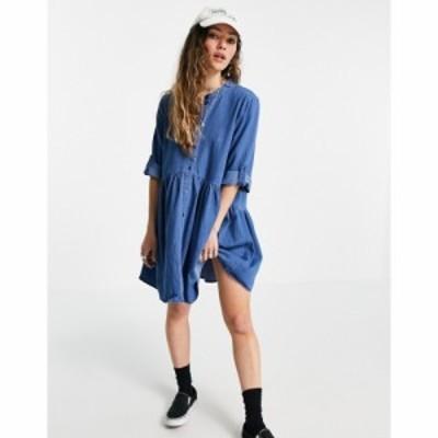 オンリー Only レディース ワンピース デニム ミニ丈 シャツワンピース denim mini shirt dress with grandad collar in light blue wash