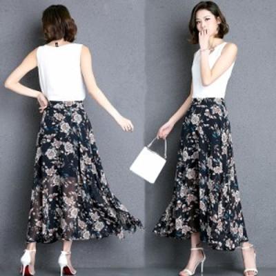 スカート レディース ハイウエストスカート シフォンスカート ロング 花柄 大きいサイズ エレガント 透け感 きれいめ レトロ