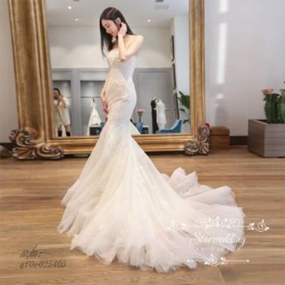 トレーン 花嫁 白 挙式 ロングドレス マーメイドラインドレス 結婚式 前撮り 二次会 パーティードレス ウェディグドレス 大きいサイズ