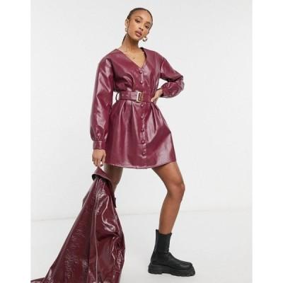 ヴァイオレット ロマンス レディース ワンピース トップス Violet Romance belted PU mini dress in burgundy Burgundy