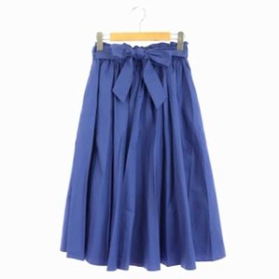 【中古】レイビームス Ray Beams フレアスカート ギャザー ロング リボンベルト付き 0 青 ブルー /DF レディース