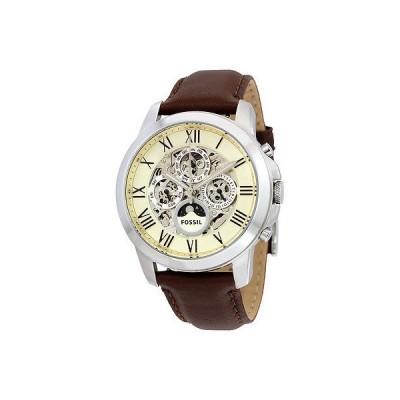 フォッシル 腕時計 Fossil Grant ホワイト ダイヤル ブラウン レザー メンズ 腕時計 ME3027