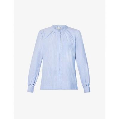 ホイッスルズ WHISTLES レディース ブラウス・シャツ トップス Striped cotton-poplin shirt BLUE/MULTI