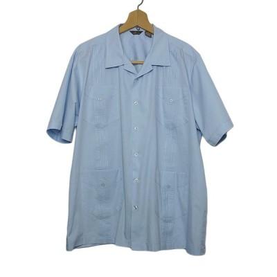 大きいサイズ キューバシャツ メンズ XL 水色 半袖 ピンタック Cafe Luna 古着 USED