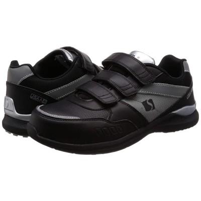 シモン プロスニーカー 短靴 JSAA規格 耐滑 軽快 スニーカー マジック 反射 KL518黒/シルバー 黒/シルバー 27 cm 3E