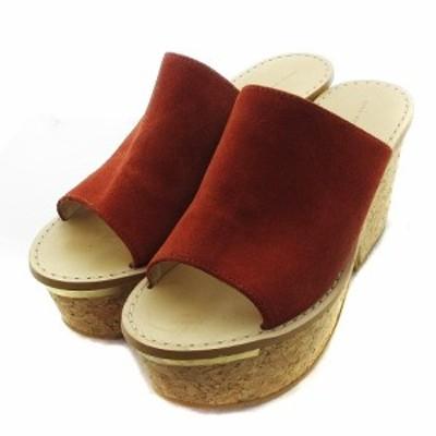 【中古】ザラウーマン ZARA WOMAN サンダル サボ ウェッジソール ハイヒール 無地 38 茶 靴 シューズ レディース