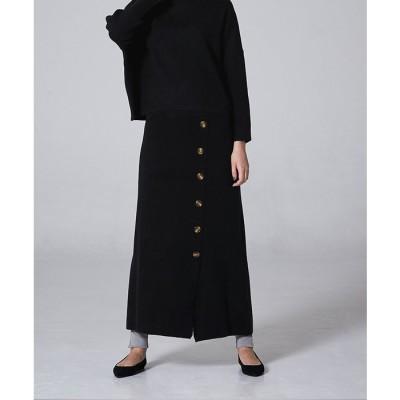 titivate フェイクラップ台形ニットスカート【miette ミエット】 ブラック フリー レディース