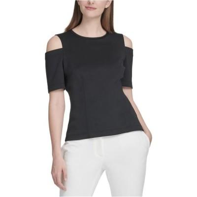レディース 衣類 トップス DKNY Womens Cold Shoulder Pullover Blouse Black Large ブラウス&シャツ