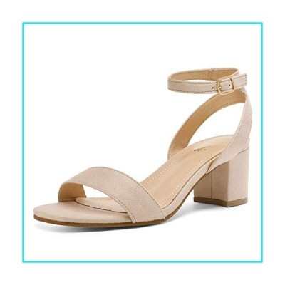 DREAM PAIRS Women's Nude Suede Open Toe Ankle Strap Low Block Chunky Heels Sandals Party Dress Pumps Shoes Size 8 M US Carnival【並行輸入品】