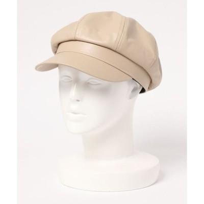 帽子 キャスケット F&D : フェイクレザーキャスケット