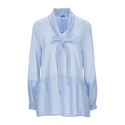 MARC CAIN ストライプ柄シャツ  レディースファッション  トップス  シャツ、ブラウス  長袖 アジュールブルー