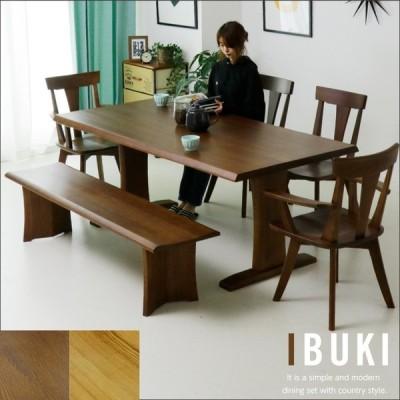 ダイニングテーブルセット 6人掛け 6点 幅180 ベンチ エコ塗装 北欧 モダン タモ木製 人気 セール