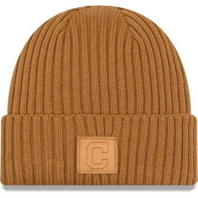 ユニセックス スポーツリーグ メジャーリーグ Cleveland Indians New Era Label Cuffed Knit Hat - Tan - OSFA 帽子