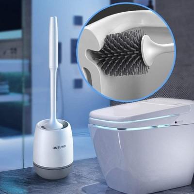 トイレブラシ 360°回転ソフトTPR素材傷に強いクリーニング用品、壁掛け式衛生抗菌耐久性のあるクトイレブラシ 、通気 衛生 トイレ掃除 (グレー 2