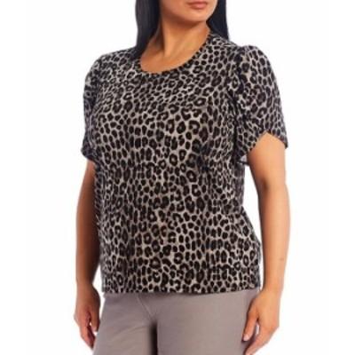 マイケルコース レディース Tシャツ トップス MICHAEL Michael Kors Plus Size Cheetah Print Lux Matte Jersey Tulip Sleeve Top Gunmet