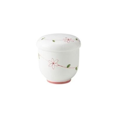 送料無料 軽い 磁器 軽量 強化磁器製 業務用 食器 皿 10個入 和らく蒸碗 ラインフラワー(赤) おかるのキモチ 美濃美人[817WAMU]