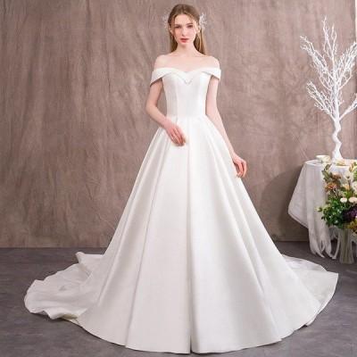 ウェディングドレス ウェディングドレス白 パーティードレス トレーン 花嫁ロングドレス 結婚式 露背 二次会 オフショルダー エレガント お呼ばれ 挙式hs4990