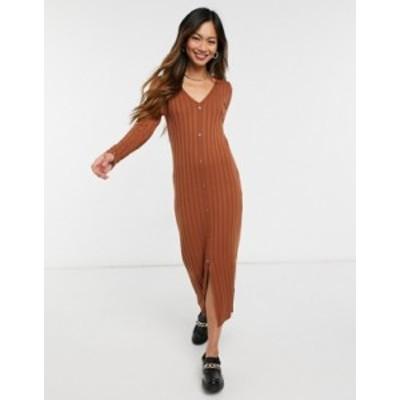 エイソス レディース ワンピース トップス ASOS DESIGN ribbed midi dress with button front placket in brown Brown