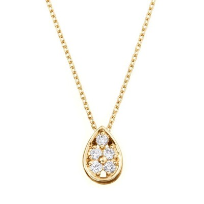 ツツミ ネックレス K18イエローゴールドダイヤモンドネックレス レディース ドロップ フラワー 小ぶり 上品 プレゼント