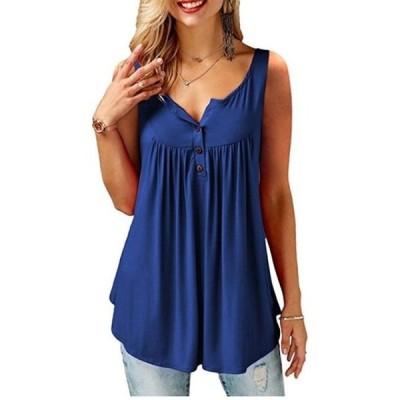 レディース 衣類 トップス Summer Solid Color Sleeveless Casual Blouse for Women ブラウス&シャツ