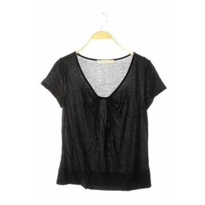 【中古】ラピスルーチェパービームス LAPIS LUCE PER BEAMS カットソー Tシャツ 半袖 黒 /DF レディース