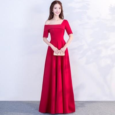 イブニングドレス 赤 ワンショルダー サテン ロングドレス 半袖 Aライン 結婚式ドレス 二次会 お呼ばれ 発表会 演奏会ドレス 30代 40代