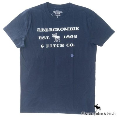 アバクロ Tシャツ メンズ 半袖 トップス ネイビー ホワイト Abercrombie&Fitch アバクロンビー&フィッチ A&F アメカジ ブランド 156