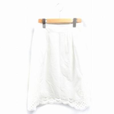 【中古】ボールジー BALLSEY トゥモローランド スカート 台形 ひざ丈 38 白 /NK レディース