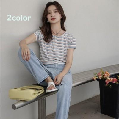 Tシャツ レディース トップス 40代 半袖 綿 ボーダー柄 春夏 カットソー 新作 大きいサイズ UVカット 韓国風 20代 30代 40代 おしゃれ かわいい