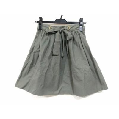 ケイトスペード Kate spade スカート サイズ0 XS レディース - カーキ ひざ丈/リボン【中古】20201222