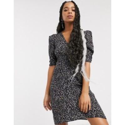 オールセインツ レディース ワンピース トップス AllSaints josephine leopard print mini dress KHAKI GREEN