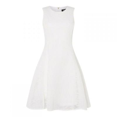 ディーケーエヌワイ DKNY Occasion レディース ワンピース ノースリーブ ワンピース・ドレス Sleeveless Embroidered Dress White