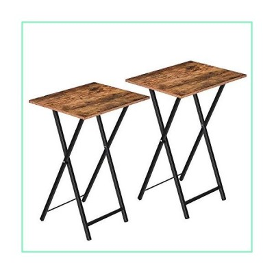 HOOBRO TV Trays Set of 2, Folding TV Tables, Snack Tables for Eating at Couch, Industrial Laptop Table for Small Space, Stable Metal Frame,