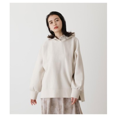 (AZUL by moussy/アズールバイマウジー)CARDBOARD MATERIAL HOODIE/レディース L/BEG1