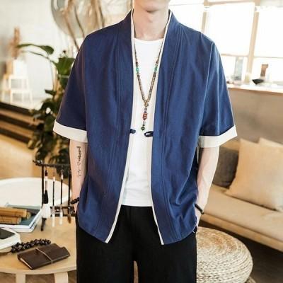 和服メンズ夏服Tシャツ半袖無地七分袖パーカーおしゃれ大きいサイズカットソートップスフード付きインナーゆったりカジュアルプルオーバー
