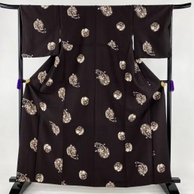 小紋 優品 洗える着物 丸文 草花 茶紫 袷 身丈162.5cm 裄丈66.5cm M 化繊 中古