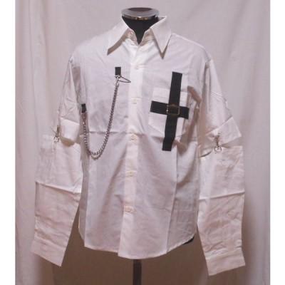 クロスシャツ チェーン付き 袖取り外し可 1171 白 日本製 パンク ロック