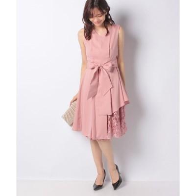 【インタープラネット】ウエストタック入り刺繍レース使いドレス