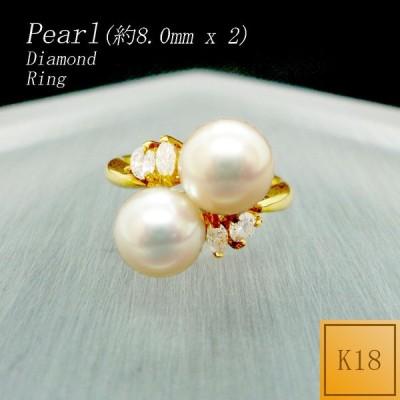 リング レディース 8.0mm パール 真珠 6月 誕生石 ダイアモンド 18金 K18 ○