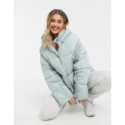 エイソス レディース ジャケット・ブルゾン アウター ASOS DESIGN ruched sleeve puffer jacket in soft blue Soft blue