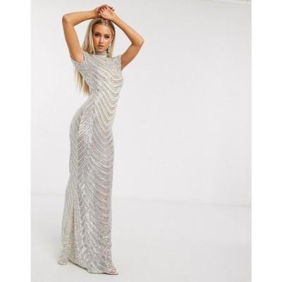 クラブエル ロンドン Club L London レディース ワンピース マキシ丈 ワンピース・ドレス Sequin Geo Print High Neck Maxi Dress In Cream クリーム