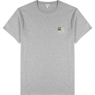 ロエベ Loewe メンズ Tシャツ トップス Grey Logo-Embroidered Cotton T-Shirt Grey