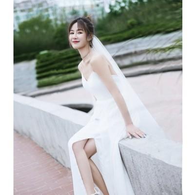 ウェディングドレス ウェディングドレス白 パーティードレス V襟 花嫁ロングドレス 露背 結婚式 トレーン ホルターネック 二次会 お呼ばれ 挙式hs5273
