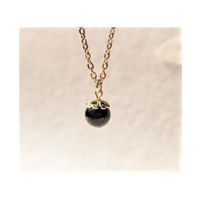 天然モリオン(黒水晶)のシンプル一粒ネックレス4  ペンダント ステンレス アクセサリー ゴールド くろ クロ お守り 黒 ブラック 丸 まる マル