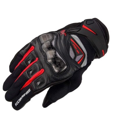 KOMINE(コミネ) GK-224 Carbon Protect Leather Mesh-Gloves Black/Red 2XL 品番:06-224/BK/RD/2XL