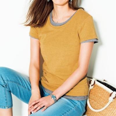 シンプルTシャツ(半袖)(S~3L・選べる2タイプ)/スィートイエロー(杢調)/S(ショート/クルー)